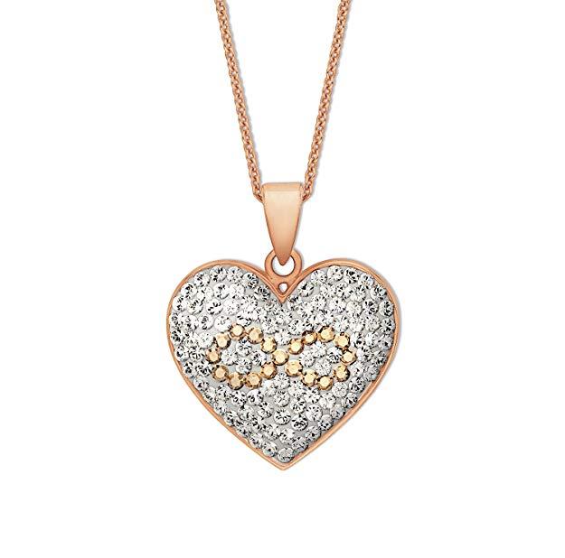 NOELANI rosévergoldet mit Anhänger Herz Infinity veredelt mit Kristallen von Swarovski