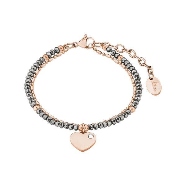 s.Oliver Damen Armband Perlen und Herzanhänger besetzt mit Swarovski Kristallen
