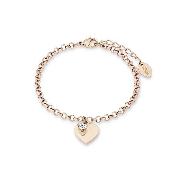 s.Oliver Damen Armband Herz Anhänger veredelt mit Swarovski Kristallen, Edelstahl