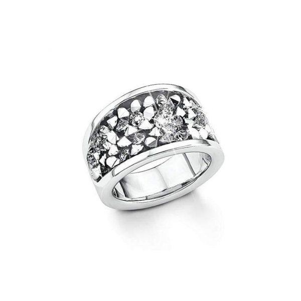 s.Oliver Damen Ring besetzt mit Swarovski Kristallen, Edelstahl