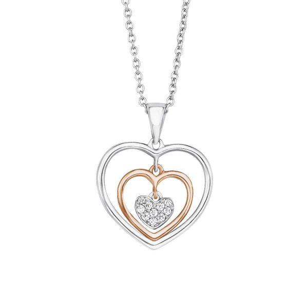 s.Oliver Damen Kette teilvergoldet Zirkonia weiß, 925 Silber