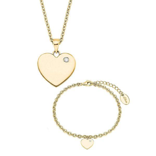 s.Oliver Damen Set Collier & Armband Herz-Motiv, 925 Silber